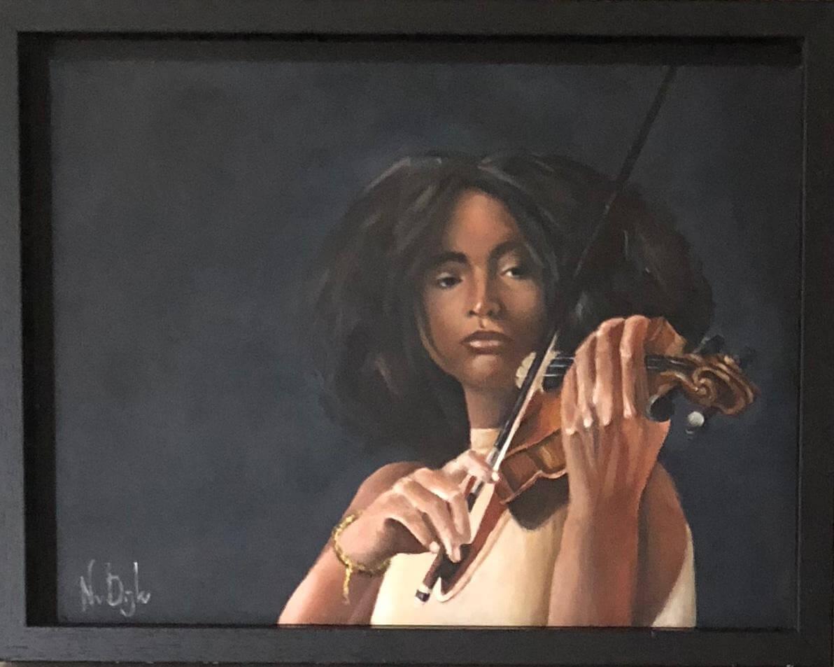Schilderij olieverf - Vrouw bespeelt viool