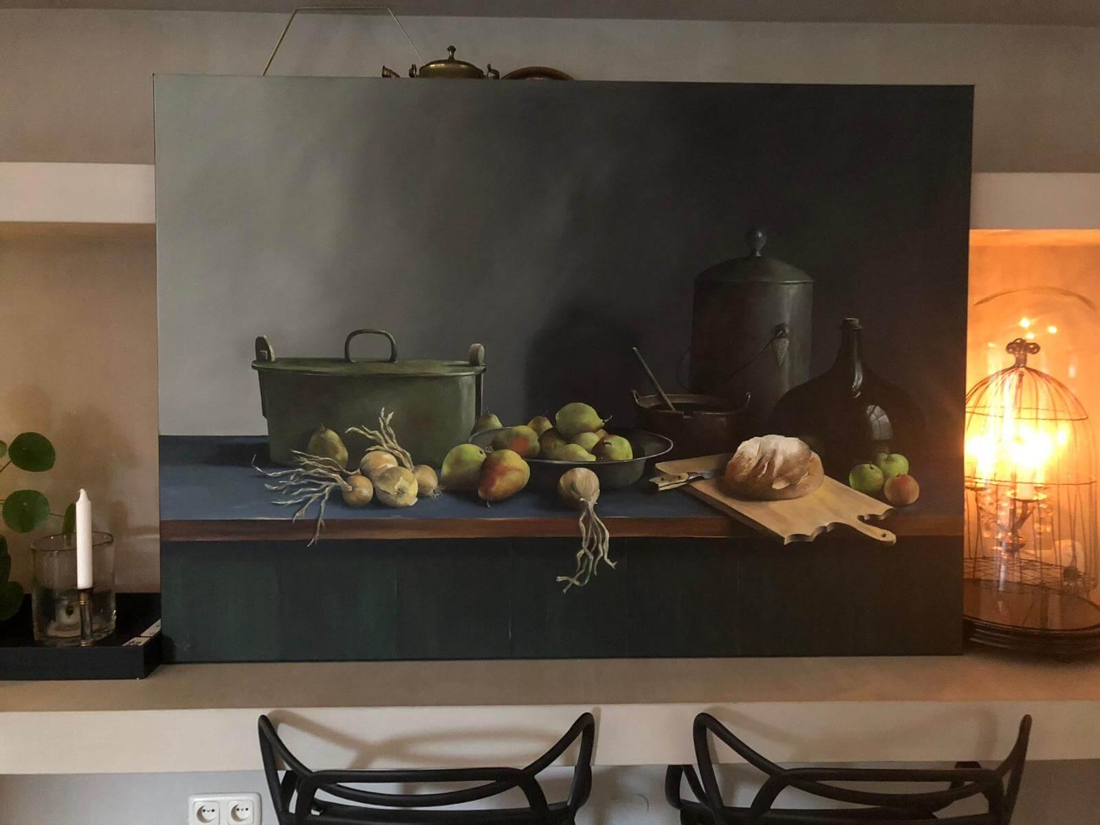 Schilderij olieverf - Stilleven groente en fruit