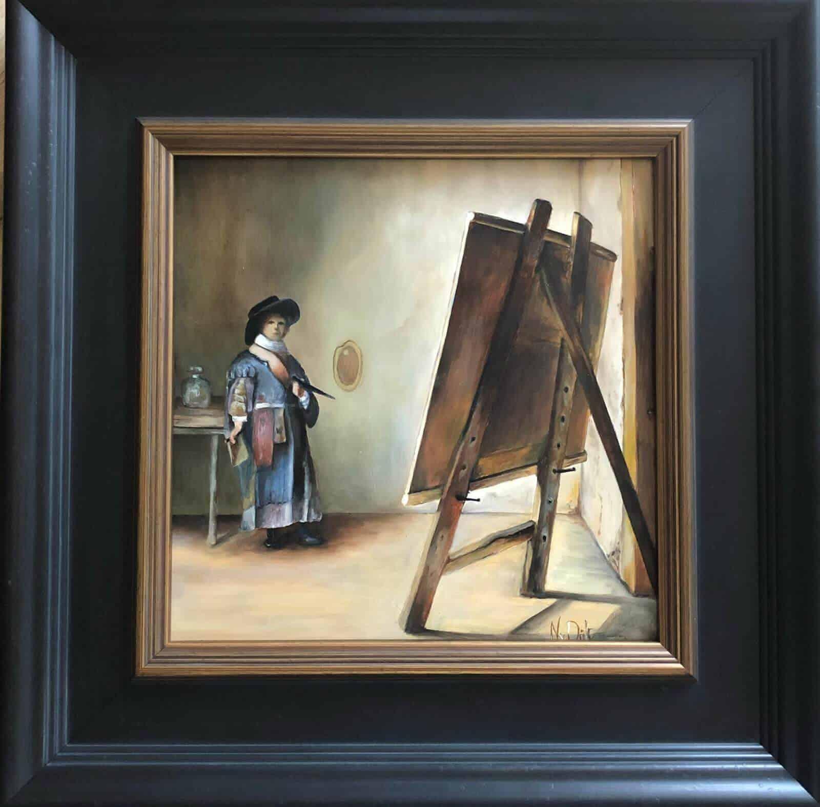 Schilderij olieverf - Kunstenaar aan het schilderen