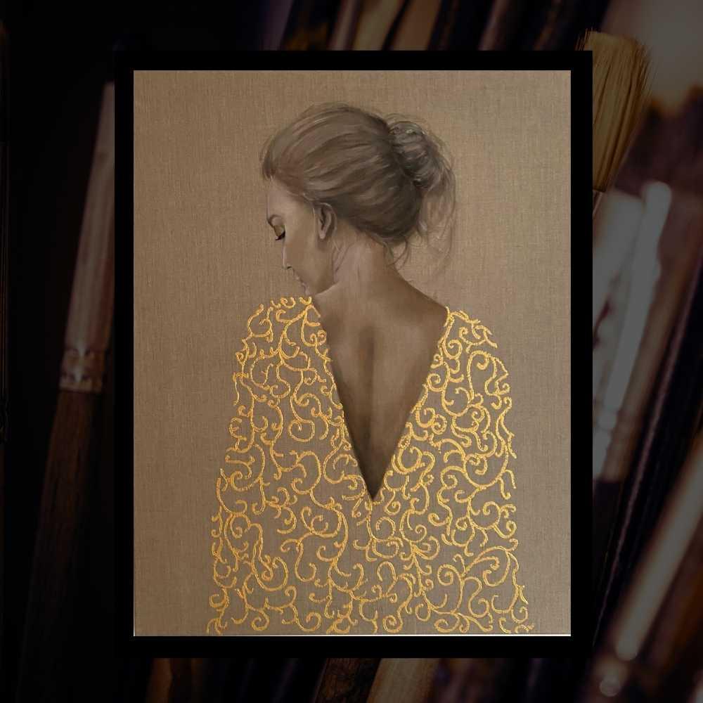 Online schildercursus Vrouw met de gouden jurk
