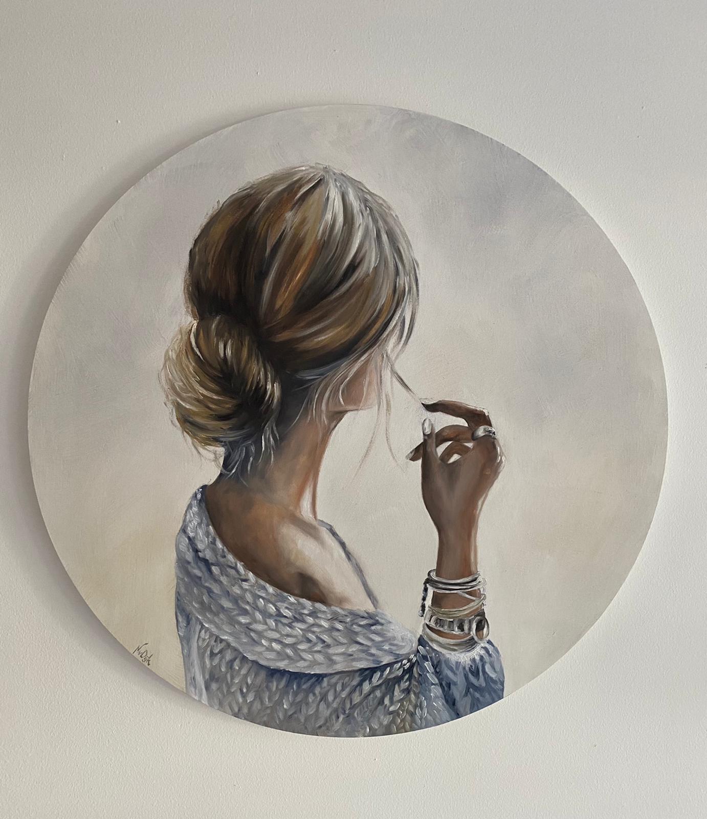 rond schilderij vrouw